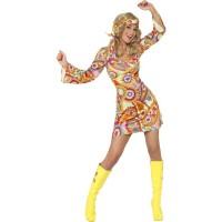 Hippie Kleid 70er Jahre Kostüm Multicolor Fasching Flower Power