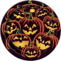 Halloween Partydeko Kürbis Teller Klein Dunkel