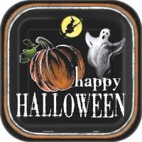 Halloween Partydeko Teller klein Geist und Kürbis