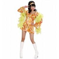 Kostüm 70er Mod Chick Kleid Orange Hippie Girl 70er Jahre Flower Power