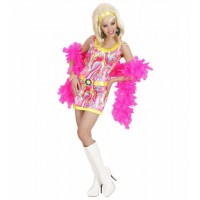 Kostüm 70er Mod Girl Kleid Pink Hippie Girl 70er Jahre Flower Power