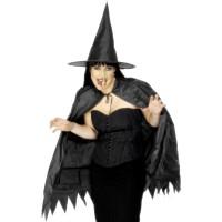 Halloween Hexen Set mit Hut, Cape und Nase