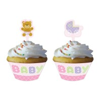 Baby Shower Teddy Rosa Muffin Cupcake Partydeko Babyparty Geburt