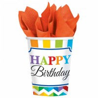 Partydeko Bright Birthday Becher Geburtstag Happy Birthday