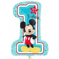 Folienballon XXL Art. 34343 Zahl 1 Mickey Mouse Partydeko 1. Geburtstag Junge