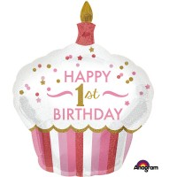 Folienballon XXL Art. 34522 Rosa Muffin Partydeko 1. Geburtstag Ballon