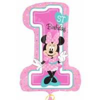 Folienballon XXL Art. 34352 Zahl 1 Minnie Mouse Partydeko 1. Geburtstag Ballon