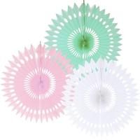 Dekofächer ø 40cm Pastell Farben 3-fach Partydeko