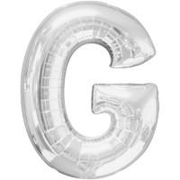 Folienballon XL Buchstabe G Silber Partydeko Geburtstag Ballon