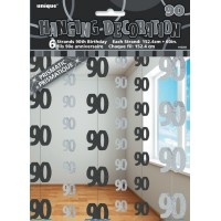 Hängedekoration Zahl 90 S/W Partydeko 90. Geburtstag