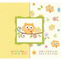 Eule Einladungskarten 8 Stück