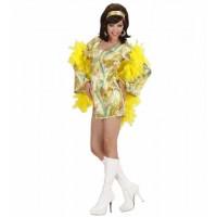 Kostüm 70er Mod Chick Kleid Grün Hippie Girl 70er Jahre Flower Power
