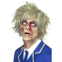Halloween Perücke Zombie Grau / Grünes Haar