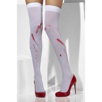 Halloween Stümpfe Overknees Weiss mit Blut Krankenschwester