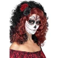 Halloween Perücke Day of the Dead Schwarz Rot Kostümzubehör