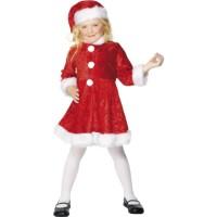 Miss Santa Mini Kostüm Kinder Weihnachten aus Samt