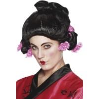 Perücke Geisha Girl Schwarz inkl. Blumen