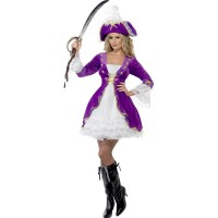 Piratin Kostüm Seeräuberin Frauen Fasching Karneval Lila