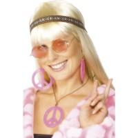 Hippie Set Brille, Kette Stirnband Pink Party Kostümzubehör 70er Jahre Party