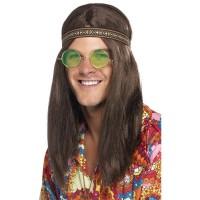 Hippie Set Brille, Kette Stirnband Grün Party Kostümzubehör 70er Jahre Party