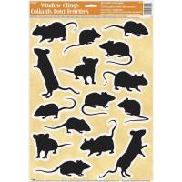 Halloween Partydeko Fensterbilder Maus Ratte Klebebilder