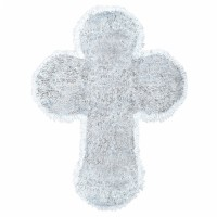 Konfirmation Taufe Tinsel Kreuz Silber Partydeko Babyparty Geburt