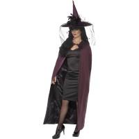 Halloween Kostüm Hexe Cape Umhang Lila Reversible Cape
