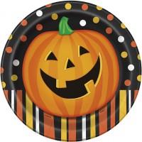Halloween Partydeko Teller Lachender Kürbis Art. 49195