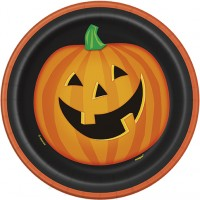 Halloween Partydeko Teller Klein Lachender Kürbis Art. 49195
