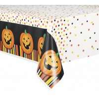 Halloween Partydeko Tischdecke Lachender Kürbis Art. 49193
