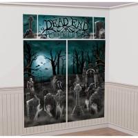 Halloween Partydeko Wanddekoration Set Grabstein Dead End