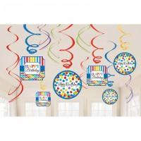 Partydeko Bright Hängedeko 12 Stück Swirl Geburtstag Happy Birthday