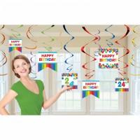 Partydeko Hängedeko 12 Stück Swirl Wunschzahl Personalisiert Geburtstag Happy Birthday