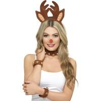 Weihnachten Haarreifen Rentier Set mit Kette Art. 39829