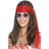 Hippie Set Frauen Perücke, Brille, Kette Stirnband Party Kostümzubehör 70er Jahre Party