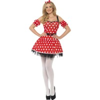 Kostüm Madame Mouse Rot Sexy Fasching Karneval