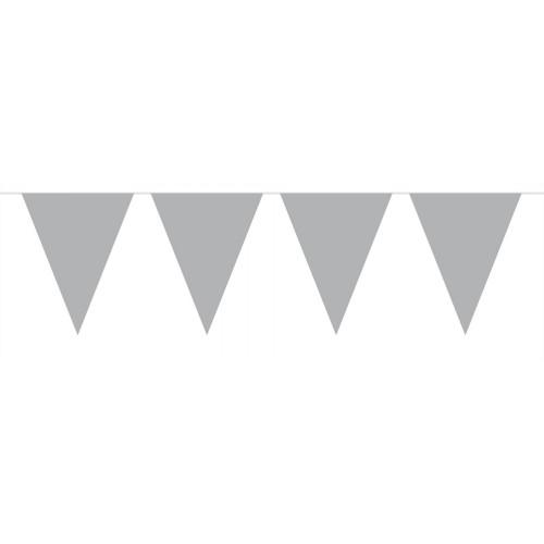 Flaggenbanner Silber Art. 60111 Partydeko Geburtstag Kindergeburtstag