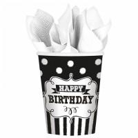 Becher Happy Birthday Geburtstag Schwarz Weiss Partydeko Geburtstag