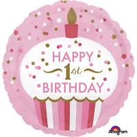 Folienballon Rosa Art. 34529 Muffin Partydeko 1. Geburtstag 1. Kindergeburtstag Ballon