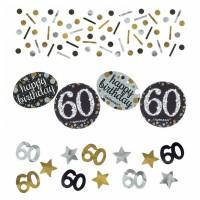 Konfetti Happy Birthday Zahl 60 Geburtstag Schwarz Gold Partydeko 60.