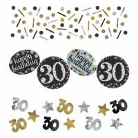 Konfetti Happy Birthday Zahl 30 Geburtstag Schwarz Gold Partydeko 30.