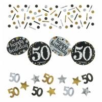 Konfetti Happy Birthday Zahl 50 Geburtstag Schwarz Gold Partydeko 50.