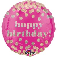 Folienballon Happy Birthday Art. 33809 Partydeko Ballon Geburtstag Pink Gold