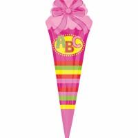 Einschulung Folienballon Schultüte Pink ABC Schulanfang