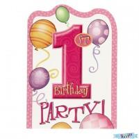 Ballon Rosa Einladungskarten
