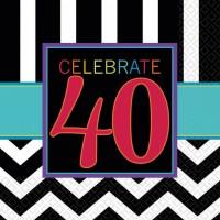 16 Servietten zum 40. Geburtstag Chevron Look Partydeko Feier