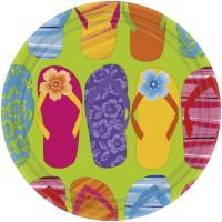 8 Pappteller im sommerlichen FlipFlop Look Partydeko Sommerparty Hawaii