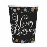 8 Becher zum Geburtstag Happy Birthday Sparkling Partydeko Pappbecher