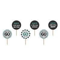 6 Picker zum 60. Geburtstag als Partydekoration Happy 60th Birthday Partypicker