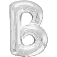 Folienballon XL Buchstabe B Silber Partydeko Geburtstag Ballon